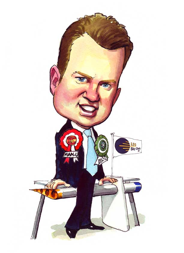 Leaving Present caricature from Skychefs Ltd - Paul Raymonde