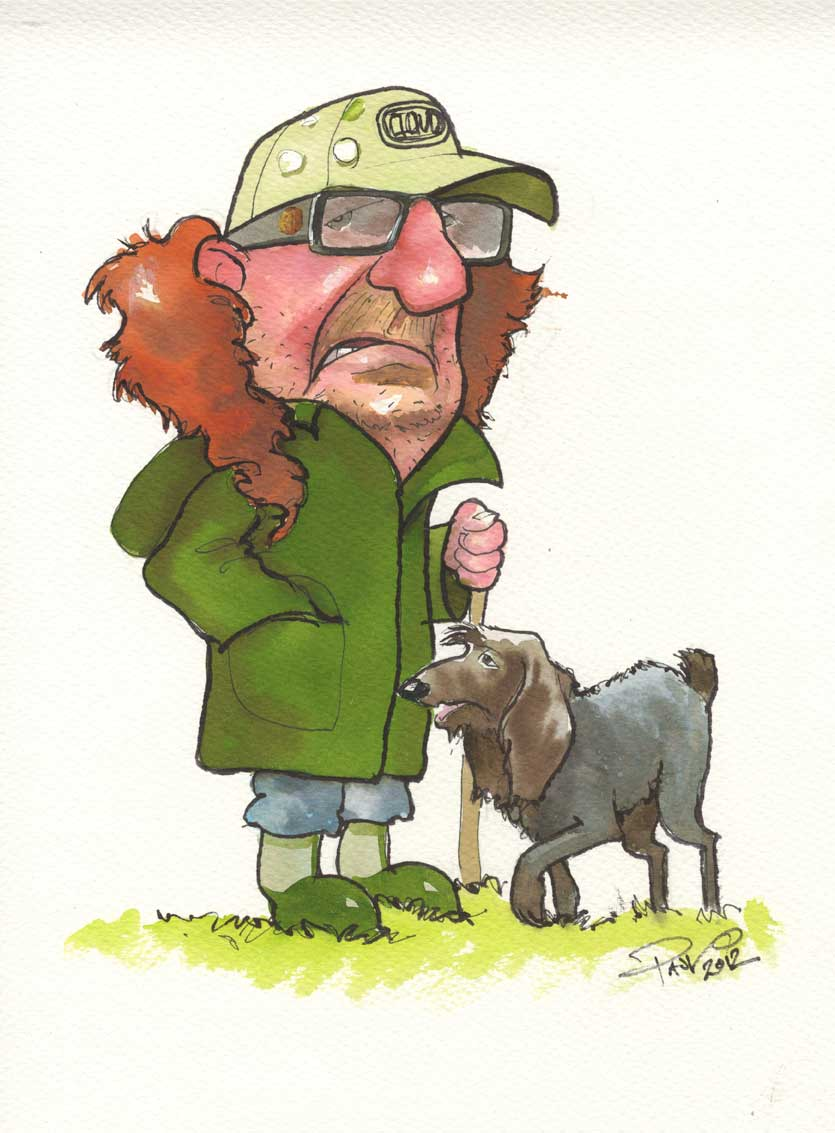 Birthday gift caricature - Farmer and dog - Paul Raymonde