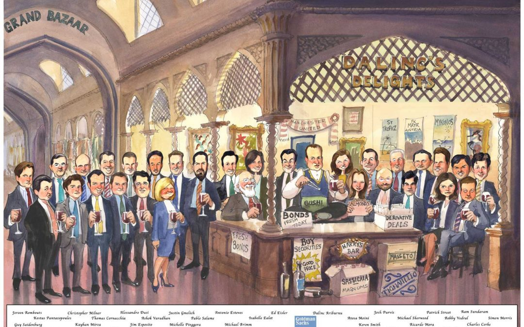 Leaving Present – Group Caricature – Goldman Sachs – DA