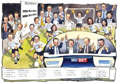 corporate-deal-cartoon-award-tombstone-caricature-gift-giggleface-SkyBet-Goldman-Sachs